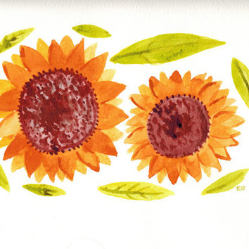Sunflowers Painting, Original Watercolor,Yellow Kitchen Decor 9 by 12,