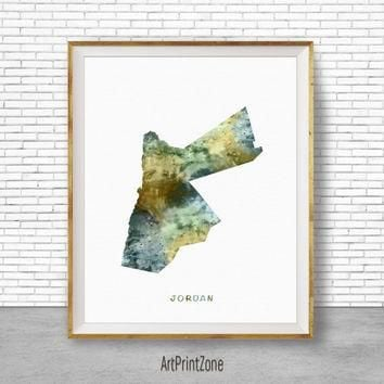 Jordan Map Art, Jordan Print, Watercolor Map, Map Painting, Map Artwork, Country Art,