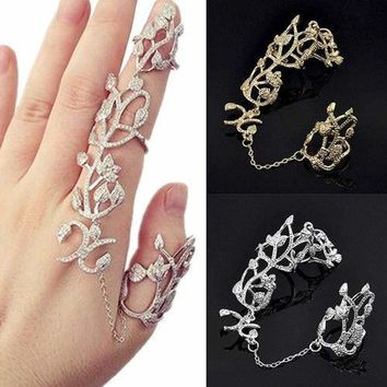 Women Flower Rose Chain Link Finger Slave Ring Bride Wedding Jewelry Clever