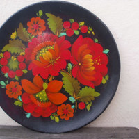 Handpainted wood plaque Large wooden plate Round Wall art decor Black red rustic home decor Wooden plaque Gift idea Boho chic wooden decor