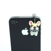 Cream French Bulldog Ceramic Anti Dust Cap for iPhone Pet Lover Gifts
