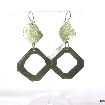 Hammered Hexagon Shaped Silver Earrings, Gift for Her