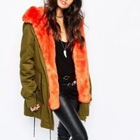 Faux London Parka Coat With Faux Fur Lining