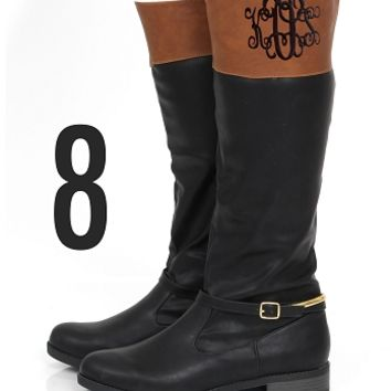 Monogrammed Black and Brown Colorblock Riding Boots | Footwear | Marley Lilly