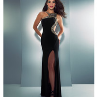 Mac Duggal Prom 2013 - Black & Gold High Neck Rhinestone Prom Gown - Unique Vintage - Prom dresses, retro dresses, retro swimsuits.