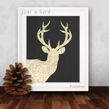 Deer Antler, Deer print, Gold Bokeh Sparkles, Deer Head, affordable art, INSTANT DOWNLOAD, gold glitter, deer printable