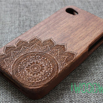 custom mandala iphone 5s case, iphone 5 case wood, wood iphone 5s case,iphone 5 cover,iphone 6 case, iphone 5s wood case