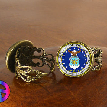 US United States Air Force Adjustable Ring Rings Jewelry Jewellery Women Gift