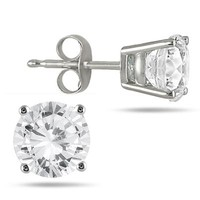1/4 Carat TW Round Solitaire Diamond Stud Earrings in 10K White Gold