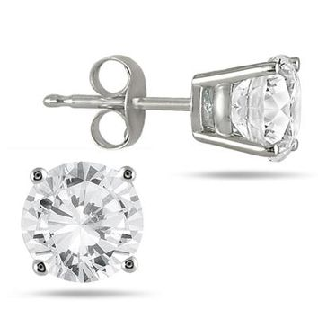 3.00 Carat Round Diamond Solitaire Earrings in 14K White Gold