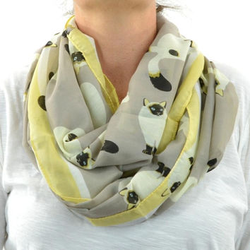 Infinity Scarf Lightweight Cotton Circle Loop Womens Mens Unisex Prints Cat