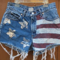 American Flag Glitter Pockets High Waisted Shorts