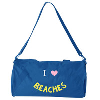 I Love BEACHES Smiley Face Blue Small Medium Bag