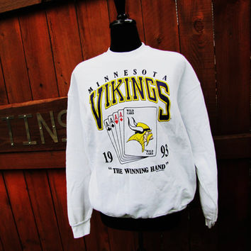 vintage 1993 Minnesota Vikings Wild Card Game white sweatshirt. minnesota vikings clothing