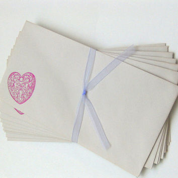 Hand Stamped Envelopes with Pink Scroll Heart