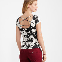 Floral Lattice-Back Bodycon Tee