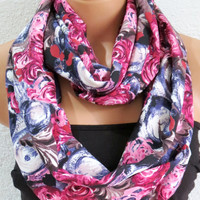 Infinity Scarf Floral Rose Print Circle Loop Scarf Women's Fashion Accessories - Scarves in Aubergine, Pink - Scarfs for her
