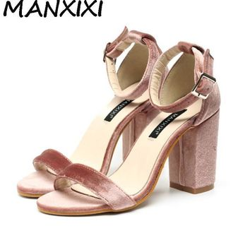 High Quality Women Pumps Sandals Velvet Shoes Ankle Strap Block Thick High Heel Weddin