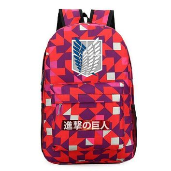 School Backpack trendy New Attack on Titan Backpack Student School Bags Bookbags Cosplay Shingeki no Kyojin Wings of Liberty Shoulder Travel Bags Gift AT_54_4