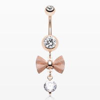 Rose Gold Dainty Bow-Tie Belly Button Ring