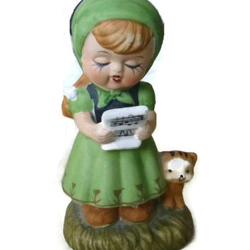 Vintage Little Girl Singing & Kitten Figurine, Porcelain, Ceramic, Statue, Home Decor, Collectible, Kawaii, Kitsch, Irish Girl, Peasant Girl