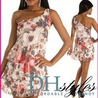 Kal-18165-White-Red Floral One Shoulder Tiered Cocktail Dress