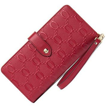 Cluci Womens RFID Blocking Genuine Leather Multi Credit Card Organizer Wallet with Zipper Pocket