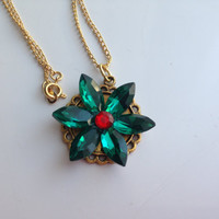 Free Delivery!! Anastasia necklace together in Paris Charm Necklace Replica Flower Emerald Ruby Romanov Replica Handmade