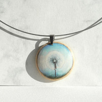 Dandelion Necklace Choker, Small Acrylic Dandelion Painting Necklace, Wood, Hand Painted Pendant, Wooden Art, Choker Wire 16 inches