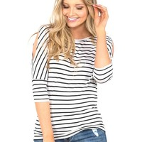 Vanity Women's Striped Dolman Cold Shoulder Basic