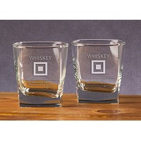 Whiskey Flag Etched Double Old Fashioned Glassware (Set of 2) by Anchored Style - FINAL SALE