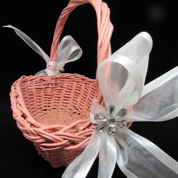 Shop vintage flower girl baskets on wanelo vintage rose rectangle wicker flower girl basket white bows crys mightylinksfo