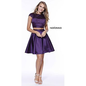 Cap Sleeves Two-Piece Beaded Short Prom Dress Cut Out Back Plum