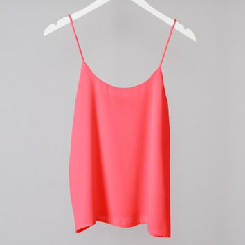Spaghetti Strap Solid Flowy Crop Top - Hot Pink