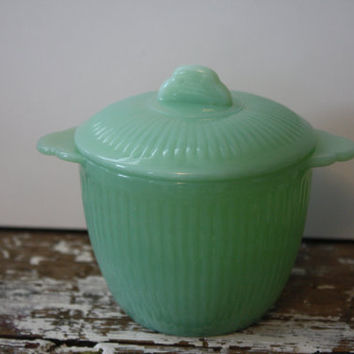 Jadite Fire King Sugar Bowl with Lid by shoppnspree on Etsy