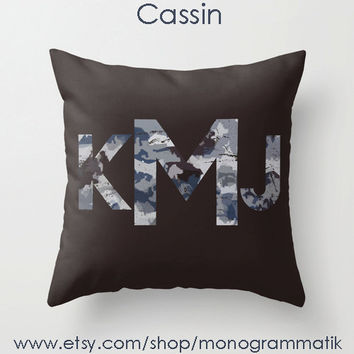 "Monogram Personalized Custom Pillow Cover ""Cassin"" 16"" x 16"" Couch Art Bedroom Room Decor Initials Name Letters Brown Blue Arctic Camo"