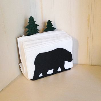 Black Bear Indoor/Outdoor Napkin Holder Organizer