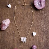 MINI QUARTZ CHOKER - Simple Layering Necklace, Clear Quartz Crystal Points, Raw Gemstone Jewelry, Dainty Gold Chain, Boho Chic,Gifts for her