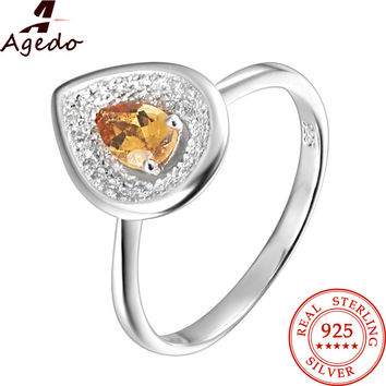 Agedo Charms Water Drop Natural Citrine 925 Sterling Silver Ring Fine Jewelry Gemstone Engagement Wedding Rings for Women FR04