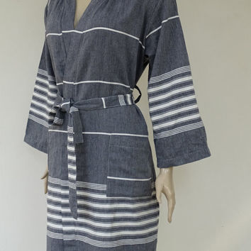 Turkish black colour soft and light weight cotton hooded bathrobe, dressing gown, pool robe.