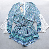 reverse - aqua blue boho print romper with crochet lace bell sleeves - blue