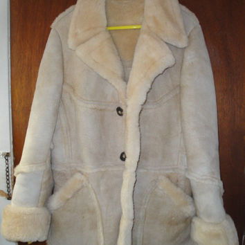 Mens Vintage Suede Sheepskin Shearling Coat Wallachs 40