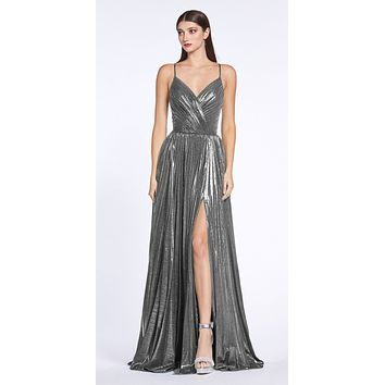 Criss-Cross Back with Slit Metallic Long Prom Dress Charcoal