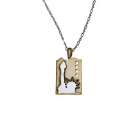 NYC Statue Of Liberty Sterling Silver & Brass Necklace