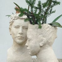 Head planters - custom sculpture art - woman and man - couple of vases - white sculpture