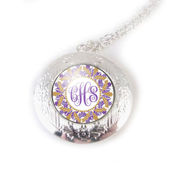 Purple Gold Monogram Locket, Initials Silver Photo Locket Necklace