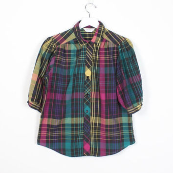 Vintage 80s Shirt Rainbow Plaid Puff Sleeve Blouse 1980s New Wave Yellow Pink Teal Plaid Cheryl Tiegs Collared Shirt Hipster Top M Medium L