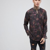 ASOS Regular Fit Floral Shirt With V Neck at asos.com