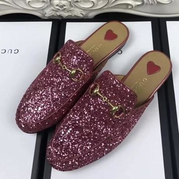 GUCCI Women Casual Fashion Leather Mules Half Slipper Flats Shoes