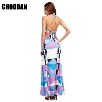 Maxi Dresses Women Backless Bohemian Dress Sexy Halter Summer Clothes Geometric Pattern Spaghetti Strap Print Long Beach Dress